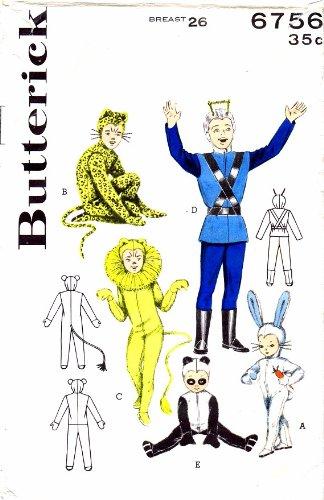 Butterick 6756 Vintage Sewing Pattern Space Suit Rabbit Leopard Lion Panda Costumes Size 6 - 8