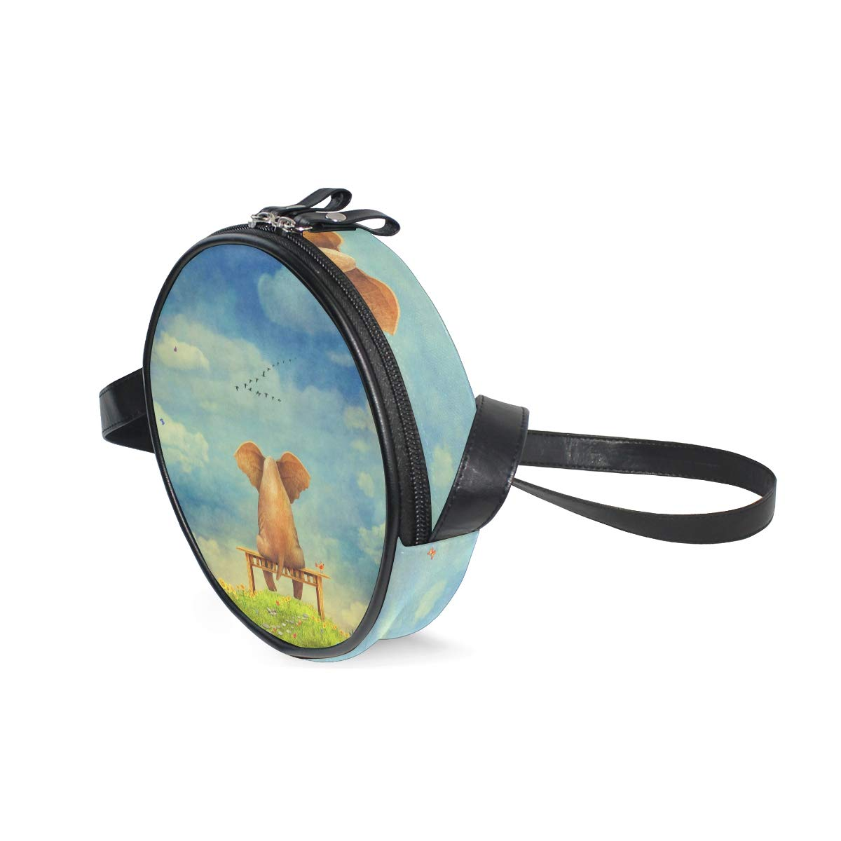 KEAKIA Sad Elephant Round Crossbody Bag Shoulder Sling Bag Handbag Purse Satchel Shoulder Bag for Kids Women
