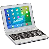 Cooper Cases(TM) Kai Skel Clamshell Keyboard Case for Apple iPad 2/3/4 in Silver (MacBook-like Design, Built-in US English QWERTY Keyboard, Bluetooth Connection, Powerbank, Auto Sleep/Wake)