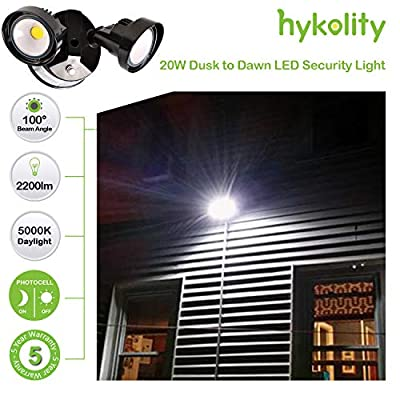 Hykolity 20W Dusk to Dawn LED Security Light, Outdoor Wall Mount Floodlight [150W Equivalent] 2200lm 5000K IP65 Waterproof, Adjustable Dual Head, ETL Listed & DLC Complied