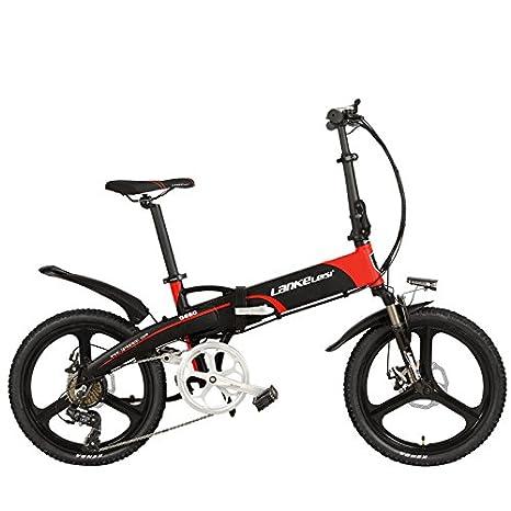 LANKELEISI G660 Elite 20 pulgadas bicicleta eléctrica plegable, batería de litio 48V 10Ah, marco de aleación de aluminio, rueda integrada, ...