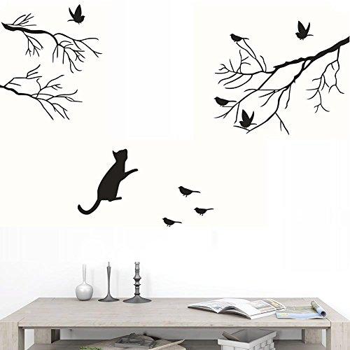 - BIBITIME Vinyl Black Cat Staring at Birds on Tree Branch Wall Decal for Living Room Glass Door Window Nursery Bedroom Children Kids Baby Rooms Decor Home Art Murals