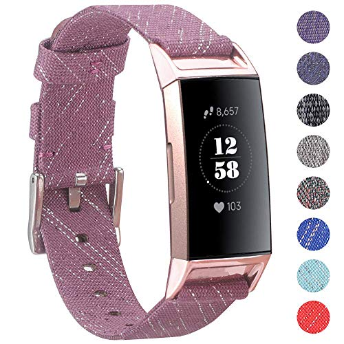 EZCO Compatible with Fitbit Charge 3 Bands, Woven Fabric Breathable Watch Strap Quick Release Replacement Wristband Accessories Man Woven Compatible Charge 3 / Charge 3 SE Fitness Smart Watch (Purple)