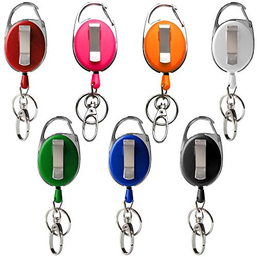 Retractable Badge Reel with Clip and Key Ring for ID Card Holders (7 Color)