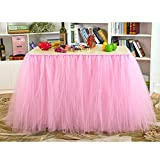 : AerWo Tutu Table Skirts Tulle Queen Snowflake Wonderland Tutu Table Cloth for Girl Princess Party Baby Shower Wedding Birthday Parties Decoration Pink