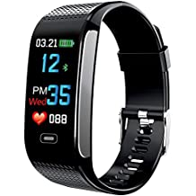 IP67 Waterproof Color Screen Fitness Tracker, BWXON Smart Bracelet Heart Rate/Blood Pressure Monitor,Distance/Calorie/Step Counter, 0.96 Inches IPS Display Pedometer GPS Smart Watch(Black)