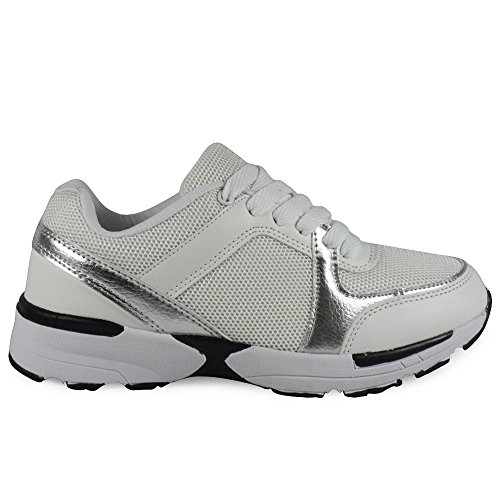 LoudLook Ladies Womens Girls Lace Up Flat Walking Jogging Running Trainers Shoes Size 3-8 UK White dNZyB1j