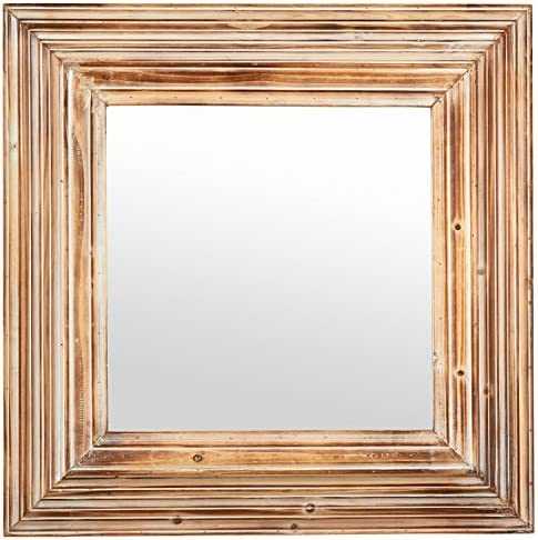 Amazon Brand Stone Beam Vintage-Look Square Hanging Wall Mirror, 39.5 Inch Height, Tan and White