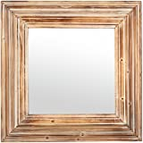 """Stone & Beam Vintage-Look Square Mirror, 39.5""""H, Tan and White"""