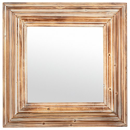Stone & Beam Vintage-Look Square Hanging Wall Mirror, 39.5 Inch Height, Tan -
