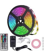 MOZC Ledstrip 5M, IP65 Waterdicht Veelkleurig RGB LED Strip, Gecontroleerd door IR-afstandsbediening, voor Slaapkamer, TV, Koffietafel, Keuken, Festival, Feestdecoratie (5m)