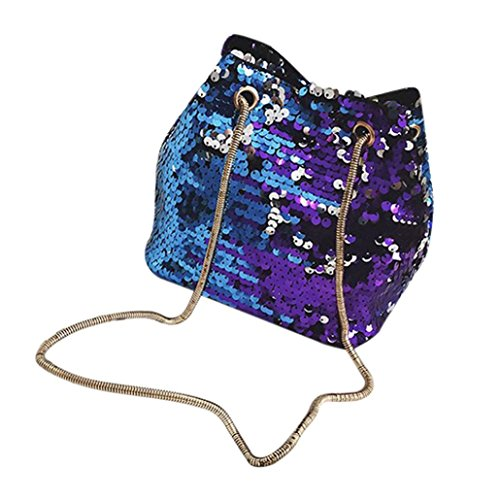 WILLTOO Womens Sequins Bag Fashion Handbag Purse Glitter Shoulder Bag Evening Party Clutch for Girl (Blue)