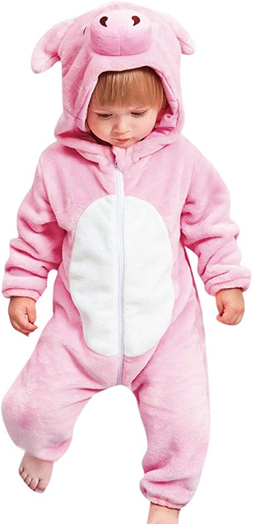 Waymine Infant Long Sleeve Flannel Cartoon Pink Pig Hooded Jumpsuit Baby Romper
