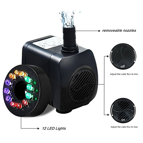 51omCiizskL - Intsun 220 GPH (800L/H, 12W) Submersible Water Pump for Fish Tank, Aquarium, Fountain, Pond, Small Silent 12 LED Colorful Pump Lights with 2 Nozzle, 6 Feet Power Cord