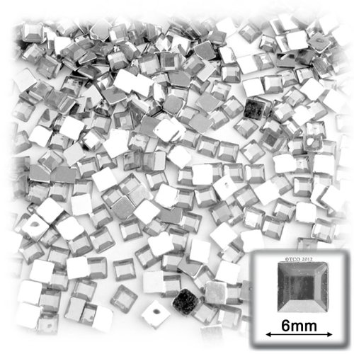 The Crafts Outlet 144-Piece Flat Back Loose Square Rhinestones, 6mm, Crystal - 144 Piece Square Rhinestones