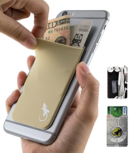 Phone wallet by Gecko BEIGE Stick On Card Holder for Cellphones & Cases – with RFID credit card sleeve - Universal Adhesive Xtra Tall Lycra Pocket for Privacy & Security – BEIGE