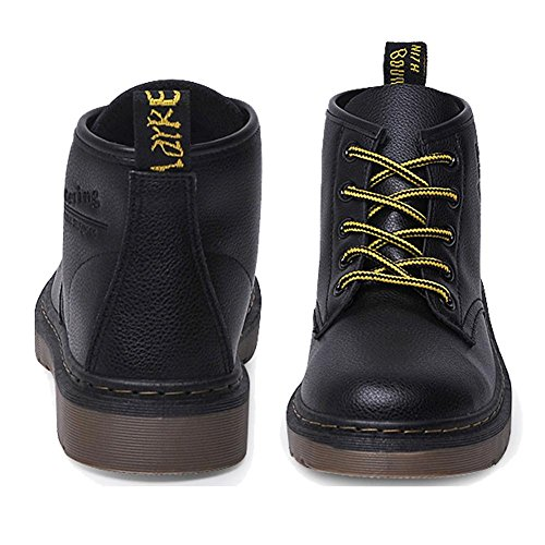 Retro Women Martin Short Boots Leather Flat Heel Winter Warm Casual Shoelace Ankle Shoes 38 4efog