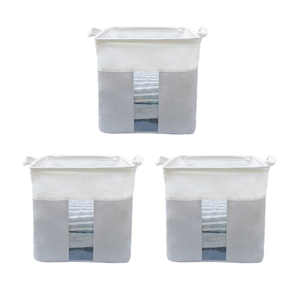 """Inuan 3 Pack Storage Basket Bins Set with Clear Window Carry Handles, Waterproof Cube Cotton Linen Collapsible Organizer Bin 12.6"""" L x 12.6"""" W x 12.6"""" H inch for Home Office Closet (Cube Grey - 3pcs)"""