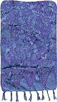 Blue-Gray and Purple Floral Artisan Batik Sarong