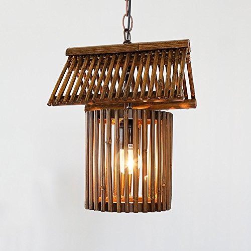 Baycher American Rural Bamboo Ceiling Pendant Lights Creative Chinese Tradition Antique Inn Solid Wood Hanging Chain Chandelier Farmhouse Kitchen Restaurant Barn Warehouse Lighting Fixtures