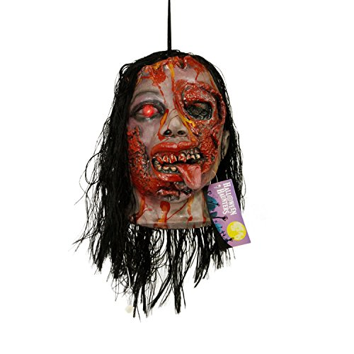 Halloween Haunters Life-Size Hanging Animated Decapitated Zombie Ghoul Head with Moving Jaw Mouth That Screams Prop Decoration - Rubber Latex Flashing Eye - Table Top Haunted House Graveyard Display -