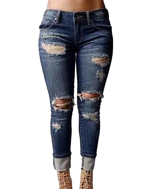 Mujer Elasticos Skinny Pantalones Push Up Vaqueros Boyfriend ...