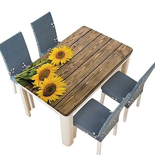 PINAFORE Table in Washable Polyeste Three Sunflowers are on The Wooden The May be Used for Your Ideas Banquet Wedding Party Restaurant Tablecloth W69 x L108 INCH (Elastic Edge) for $<!--$64.99-->
