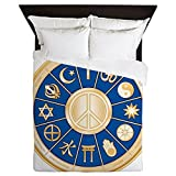 Queen Duvet Cover International Peace Symbol Religions