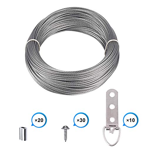 Picture Frame Hanging Wire Kit, Stainless Steel Wire with 10 Pieces 3 Holes D-Ring Picture Hangers with Screws and 20 Pieces Aluminum Crimping Loop Sleeve, Supports up to 110 Lbs ()