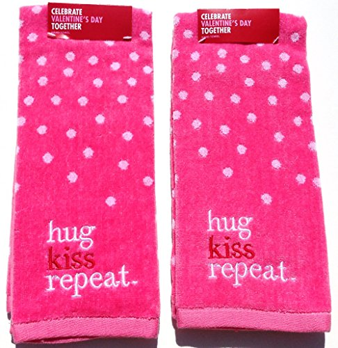 Hug-Kiss-Repeat-Celebrate-Love-Together-2-Pack-Embroidery-Hand-Towels-Pink