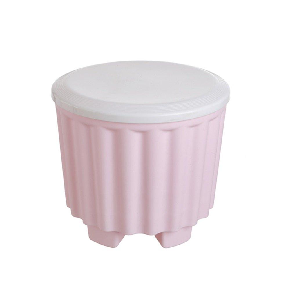 MDBLYJ Pattumiera di plastica per sgabelli, benna di stoccaggio multifunzionale con sgabello impilabile - cestino per il riciclaggio (Colore : Blue)