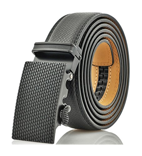 Marino Men's Genuine Leather Ratchet Dress Belt With Automatic Buckle, Enclosed in an Elegant Gift Box - Black - Adjustable from 28