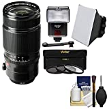 Fujifilm 50-140mm f/2.8 R LM OIS WR Zoom Lens with 3 Filters + Flash & Video Light + Diffuser + Soft Box + Kit for X-A2, X-E2, X-E2s, X-M1, X-T1, X-T10, X-Pro2 Camera