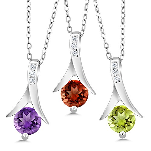 (Gem Stone King 2.55 cttw Set of 3 Amethyst Garnet and Peridot 925 Sterling Silver Pendant & 18 Inch Silver Chain)