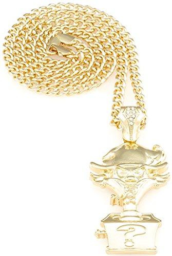 Riddle Box Pendant 24 Inch Necklace Gold Color 4mm Cuban Style (Hatchetman Pendant)