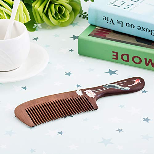 IFHOME Aromatic Natural Wood Comb, Handmade Decorative Wooden Hair Comb for Women, Anti-Static & Fine Package Bonus a Gift!