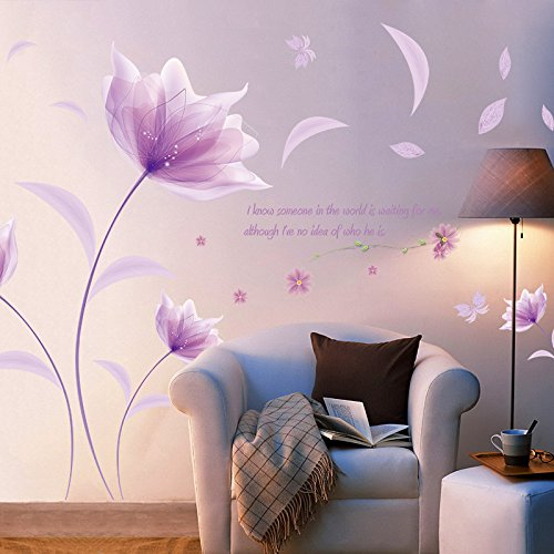 - Purple Flowers Wall Decals, E-Scenery Love Peel and Stick DIY 3D Wall Stickers Mural Art Wallpaper for Kids Room Home Nursery Wedding Party Window Decor