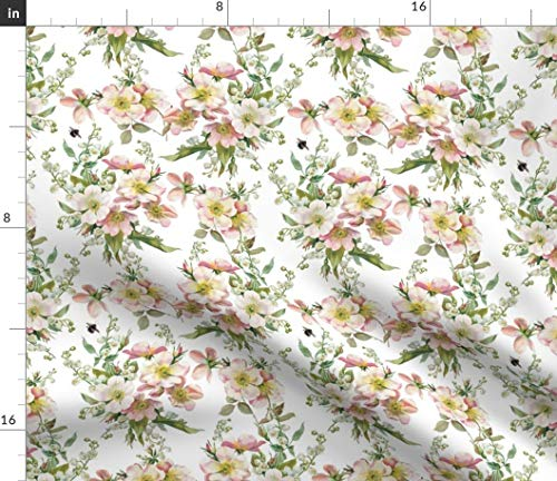 (Vintage Floral Fabric - Bee Flowers Spring Summer Florals Bee Roses Flowers Floral Chintz English Garden Lily of The by Lilyoake Printed on Eco Canvas Fabric by The Yard)