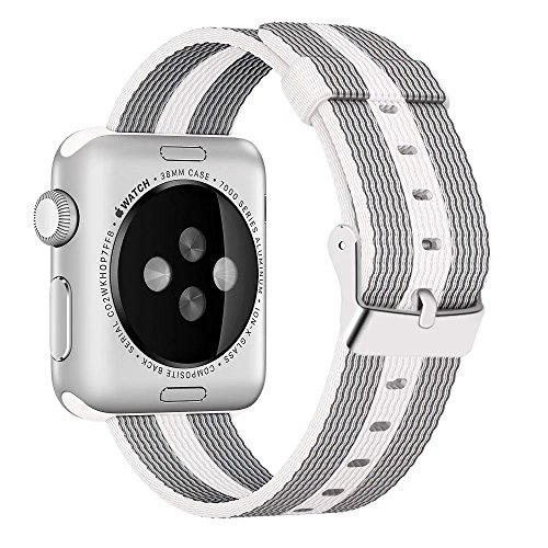 INTENY Newest Woven Nylon Fabric Wrist Strap Replacement Band with Classic Square Stainless Steel Buckle Compatible for Apple iWatch Series 1/2/3,Sport & Edition,38mm,White Stripe