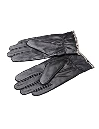 Oncefirst Men's Plush Lining Genuine Leather Driving Gloves Black