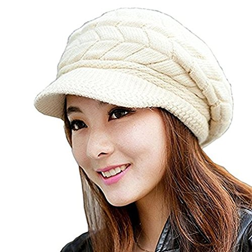 NYKKOLA Women Cable Knit Winter Warm Beanie Hats Newsboy Cap Visor with Sequined Flower