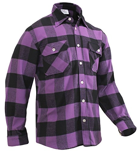 Two Pocket Flannel - Rothco Extra Heavyweight Buffalo Plaid Flannel Shirt, Purple Plaid, M