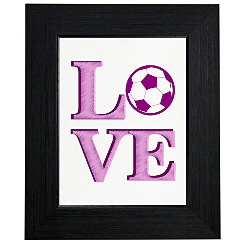 Framed Pencil Print Art - LOVE - Soccer Stacked LO VE - Pink Pencil Sketch Ball Framed Print Poster Wall or Desk Mount Options