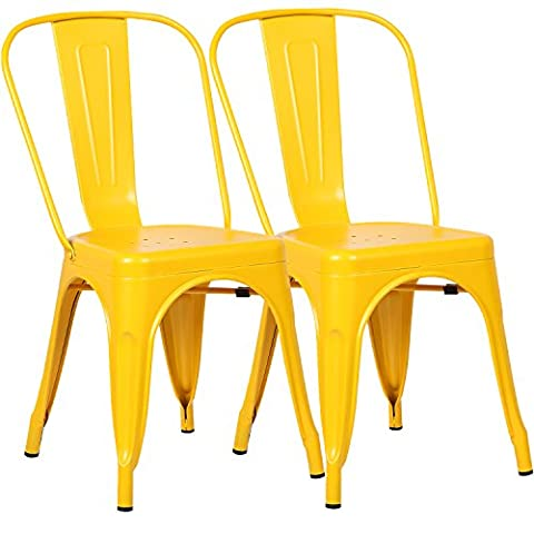 Poly and Bark Tolix Style Bistro A Dining Side Chair (Set of 2), Yellow (Yellow Room Chairs)