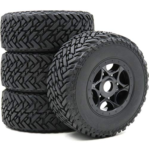 Off Road 1/8 Buggy - 4pcs RC 1/8 Buggy Off Road Short Course Tires & Hex 17mm Wheels Rims for 1:8 Car Black