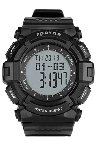 Spovan Altimeter Barometer Thermometer Pedometer Military Black Outdoor Sport Digital Watches by findtime