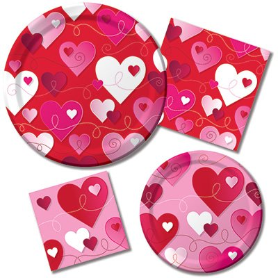 Valentines Hearts & Swirls Plates & Napkins – 8 Guest Party Bundle – 4 Items ...