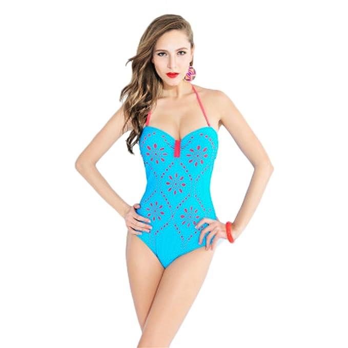 2ea050f2a7 COCO clothing Las Mujeres Turquesa Estampado Atractiva Cuello Halter Push  Up Monokini Espalda Lace Up Bañadores