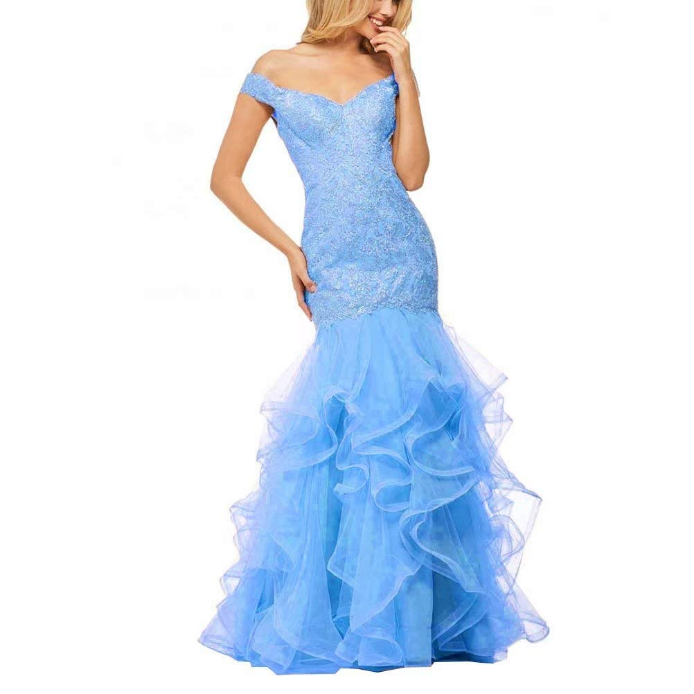 bluee Unions Women Layered Ruffles Tulle Mermaid Prom Dress Backless Long Formal Evening Gown