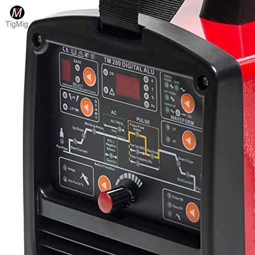 Soldador Inverter Tig TM200 Digital Alu, CA-CC, 200 A, 60% de ciclo de trabajo para la soldadura de todos los metales, especial para aluminio: Amazon.es: ...